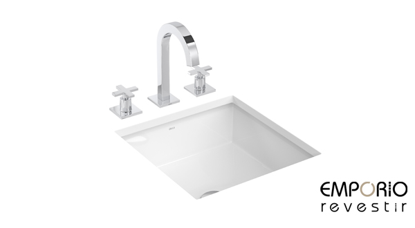 L701  Cuba de embutir quadrada  DECA  Empório Revest -> Cuba De Embutir Para Banheiro