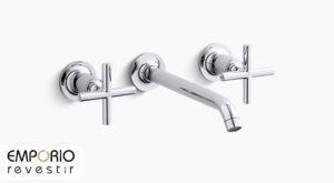 Purist™ Torneira para pia de banheiro de parede Purist™ com misturadores em cruz