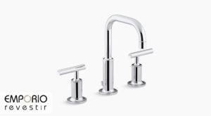 Purist™ Torneira para pia de banheiro expandida Purist™ com bica baixa e misturadores de alavanca