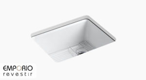 Riverby™ Pia de cozinha de cuba única de embutir com escorredor para pia de 635 mm x 559 mm x 244 mm Riverby™