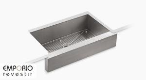 Vault™ Pia de cozinha de cuba única de embutir com painel frontal curto de 902 mm x 540 mm x 237 mm Vault™
