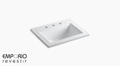 Memoirs™ Stately Rectangle Pia de banheiro de louça sanitária de sobrepor Memoirs™, orifícios para torneira distribuídos