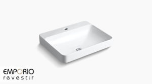Vox™ Rectangle Lavatório de louça sanitária Vox™ Rectangle Vessel, orifício para torneira única