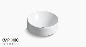 Vox™ Rectangle Pia de banheiro com cuba de louça sanitária redonda Vox™